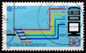 Postage stamp Germany 1988 Integrated Services Digital Network ( — Stock Photo