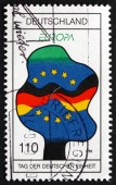 Postage stamp Germany 1998 Flags of Germany and EU — Stock Photo
