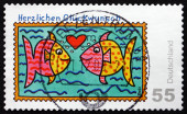 Postage stamp Germany 2008 Two Fishes, Greetings — Foto de Stock
