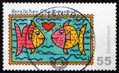 Postage stamp Germany 2008 Two Fishes, Greetings — Stok fotoğraf