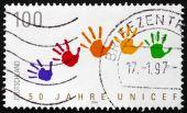Postage stamp Germany 1996 Handprints — Zdjęcie stockowe