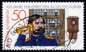 Postage stamp Germany 1977 Telephone Operator and Switchboard — Stock Photo