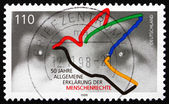 Postage stamp Germany 1998 Human Eyes and Dove — Stock Photo