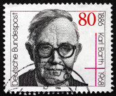 Postage stamp Germany 1986 Karl Barth, Protestant Theologian — Stock Photo