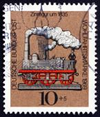 Postage stamp Germany 1969 Locomotive, Tin Toy — Stock Photo