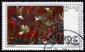 Postage stamp Germany 1979 Birds in Garden, Painting — Stockfoto