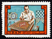 Postage stamp Lebanon 1973 Inlay Worker — Stock Photo