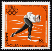 Postage stamp Mongolia 1967 Speed Skating, Winter Olympics — Stock Photo