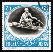 Postage stamp Poland 1956 Sculling, Olympic sports, Melbourne 56 — Stock Photo