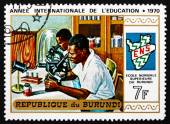 Postage stamp Burundi 1970 Students in Laboratory — Stock Photo
