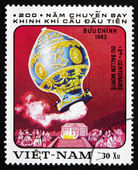 Postage stamp Vietnam 1983 Hot-air Balloon by Montgolfier — Stock Photo