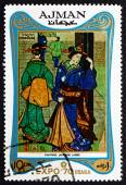 Postage stamp Ajman 1970 Japanese Women, Painting — Stock Photo