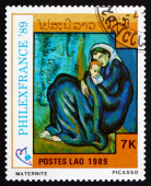 Postage stamp Laos 1989 Maternity, Painting by Picasso — Stockfoto