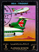 Postage stamp Ajman 1972 Lockheed Trident, BEA, Airliner — Stock Photo