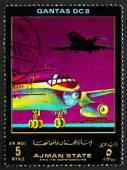 Postage stamp Ajman 1972 DC 8, Quantas, Airliner — Stock Photo