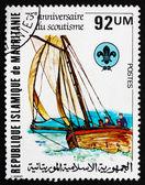 Postage stamp Mauritania 1982 Boating Scene — Stock Photo