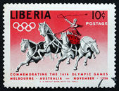 Postage stamp Liberia 1956 Classic Chariot Race — Stock Photo
