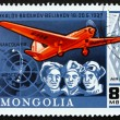 Postage stamp Mongolia 1978 Soviet Aviators and Plane — Stock Photo #55200875