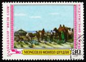 Postage stamp Mongolia 1979 Milking Camels, Painting — Stock Photo