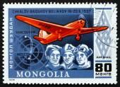 Postage stamp Mongolia 1978 Soviet Aviators and Plane — Stock Photo