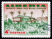 Postage stamp Liberia 1957 Orphanage and Orphanage Playground — Stock Photo