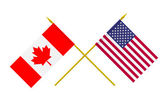 Flags, USA and Canada — Stock Photo
