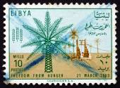 Postage stamp Libya 1963 Date Palm and Well — Stock Photo