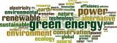 Grön energi word cloud — Stockvektor