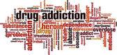 Uyuşturucu bağımlılığı kelime bulutu — Stok Vektör
