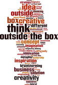 Think outside the box word cloud — Stock Vector