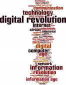 Digital revolution word cloud — Stock Vector
