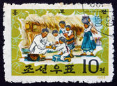 Postage stamp North Korea 1963 Tale of Hung Bu — Stock Photo