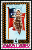 Postage stamp Samoa 1975 Christ Child and Samoan Flag — Stock Photo