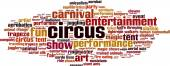 Circus word cloud — Vetor de Stock