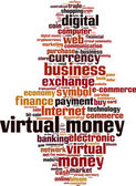 Virtual money word cloud — Stock Vector
