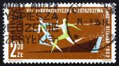Postage stamp Poland 1962 Race 100m dash — Foto de Stock