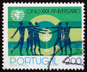 Postage stamp Portugal 1975 People and Sapling — Stock Photo
