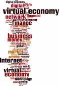 Virtual economy word cloud — Stock Vector