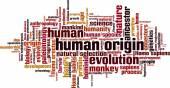 Human origin word cloud — Stock Vector