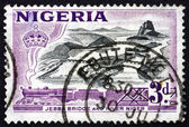 Почтовая марка Нигерии 1953 Jebba мост через реку Нигер — Стоковое фото