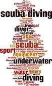 Nuage de mot de plongée sous-marine — Vecteur