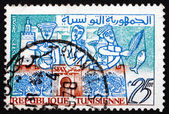 Postage stamp Tunisia 1960 Oil, Flowers and Fish of Sfax — Stock Photo