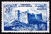 Postage stamp Tunisia 1954 Genoese Fort, Tabarka — Stock Photo