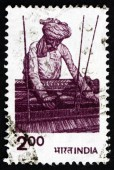 Postage stamp India 1980 traditional Indian textile weaver — Stock Photo
