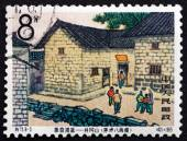 Postage stamp China 1965 Octagon Building, Mao Ping — Stock Photo