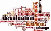 Devaluation word cloud — Stockvektor