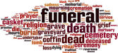 Funeral word cloud — Stock Vector