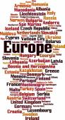 Countries in Europe word cloud — Stock Vector