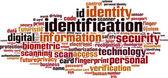 Identification word cloud — Stock Vector