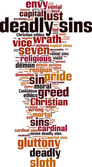 Deadly sins word cloud — Stock Vector